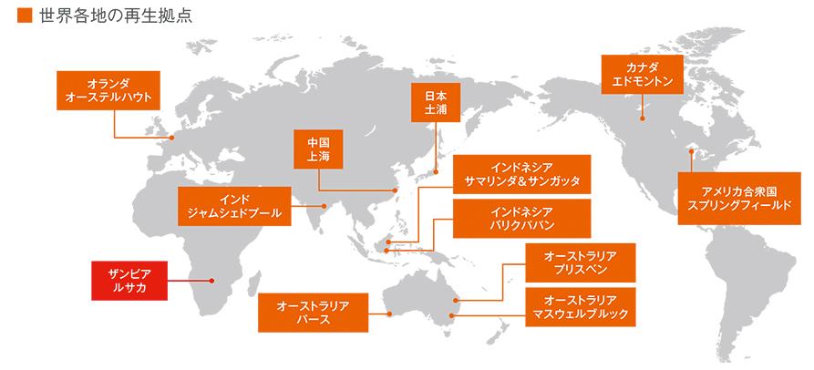 図:世界各地の再生拠点