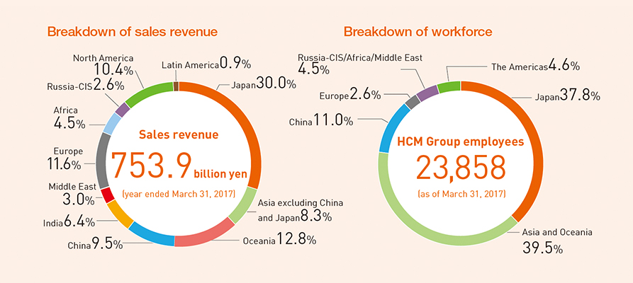 Breakdown of sales revenue / Breakdown of workforce