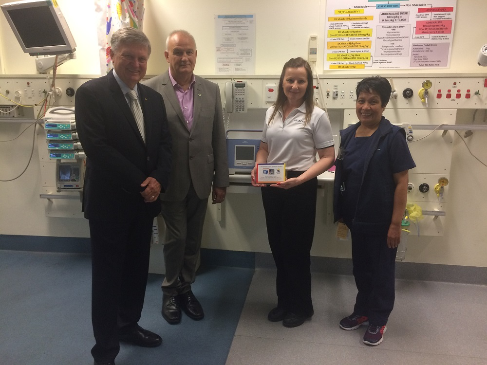 Ventilator donation: nurse (far right) from the Children's Hospital at Westmead pose