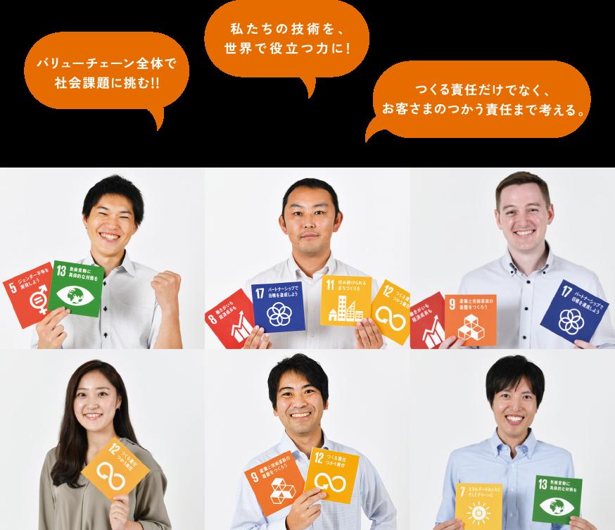 バリューチェーン全体で社会課題に挑む!! 私たちの技術を、世界で役立つ力に! つくる責任だけでなく、お客さまのつかう責任まで考える。