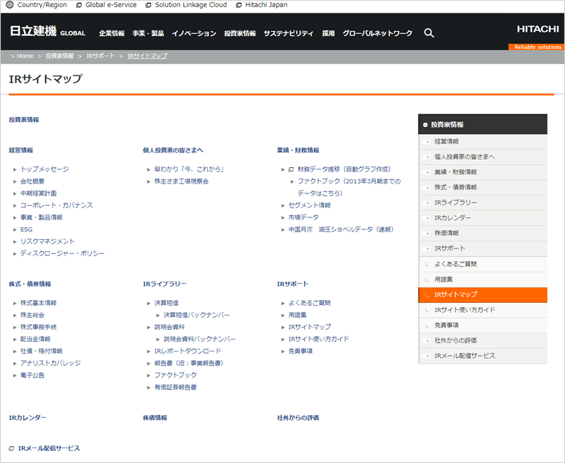 IRサイトマップ